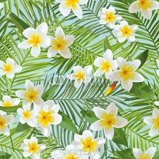 Seamless Pattern. Tropical Palm Leaves Background. Tropical Flowers 112413714