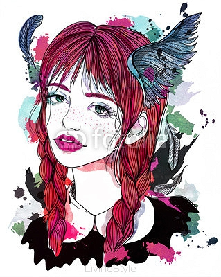 Portrait of beautiful girl with feathers in her hair. Red-haired girl with wings. Fashion illustration on abstract watercolor background. Print for T-shirt 113232503