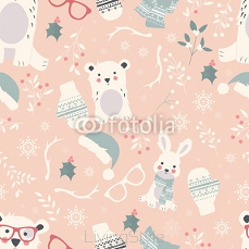 Seamless Merry Christmas patterns with cute polar animals, bears 124387373