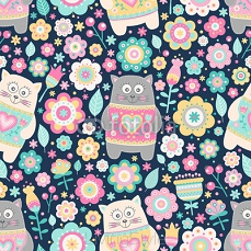 Cute flat cat. Vector seamless pattern with smile cats and flowers. Pastel colors - pink, yellow, green, grey and white. Cute background for kids. 116874780