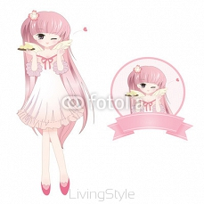 Cute Pink Girl (Anime style) 67722541