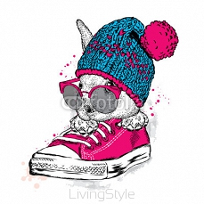 Cute rabbit with glasses and a hat with a bubo. Hare sitting in sneakers. Vector illustration for greeting card, poster, or print on clothes. Fashion & Style. 122723448