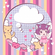 Background with doodle. Vector cute kawaii illustration. 45779604