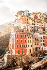 Riomaggiore old town with colorful buildings on the coastal hill in a small valley in the Liguria region of Italy 119629507