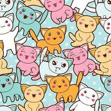 Seamless kawaii cartoon pattern with cute cats. 68052080