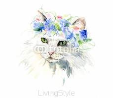 Portrait of a white fluffy cat. A wreath from flowers. Watercolor hand drawn illustration 105321044