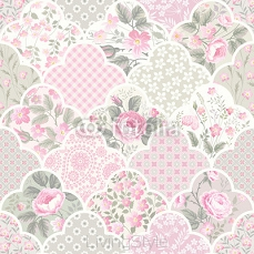 seamless floral patchwork pattern with roses in pastel colors 105617706