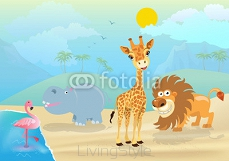 vector illustration of cute jungle  animals and plants 103570809