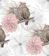Vector sketch of a owl with flowers. Seamless pattern. 109149300
