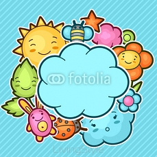 Cute child background with kawaii doodles. Spring collection of cheerful cartoon characters sun, cloud, flower, leaf, beetles and decorative objects 101131240