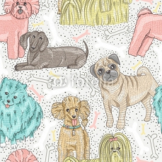 cute seamless vector pattern with little breed dogs. Bichon, pug 63019263
