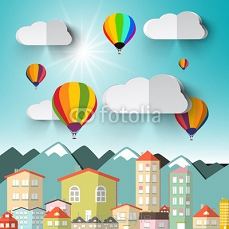 Hot Air Balloons on Sky with City and Mountains Vector Illustration 104924723