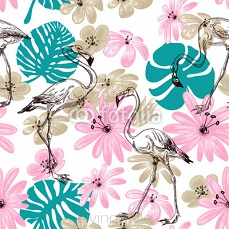 Flamingo and flowers exotic garden seamless pattern 67465300