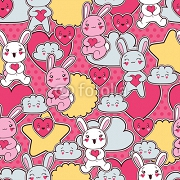 Seamless kawaii child pattern with cute doodles. 47917758