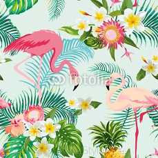 Tropical Flowers and Birds Background. Vintage Seamless Pattern. 112415252