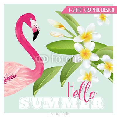 Tropical Graphic Design - Flamingo and Tropical Flowers - for t-shirt 108703610