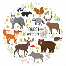 Set of forest animals in a circle isolated on white background. Vector illustration. Moose, wild boar, bear, fox, rabbit, wolf, skunk, raccoon, deer squirrel hendgehog 127697503
