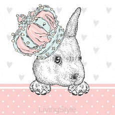Cute rabbit in the crown. Hare sitting in sneakers. Vector illustration for greeting card, poster, or print on clothes. Fashion & Style. 122723472