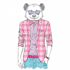 Panda in a jacket and sunglasses. Vector illustration. Animal in fashionable clothes. Print for postcards, posters, clothing or accessories 111941065