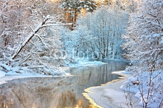winter landscape with a river at sunset 71378714