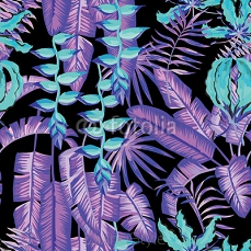 blue palm leaves and flowers painting tropical pattern 88842614