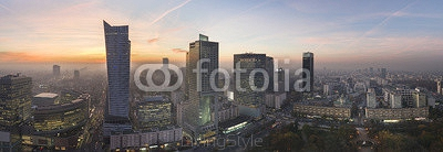 Panorama of Warsaw city during sundown 95215849