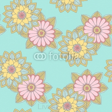 Flower pattern on blue backdrop. For wrapping paper or textile 125744291