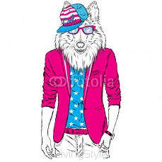 Dog in a jacket and sunglasses. Vector illustration. Animal in fashionable clothes. Print for postcards, posters, clothing or accessories 111620978