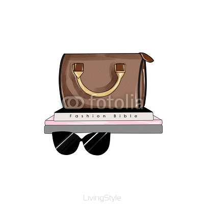 Fashion hand drawn raster illustration - Bag and fashion items
