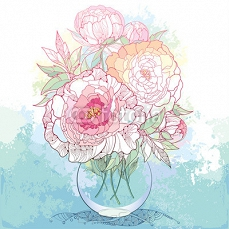 Bouquet with five ornate peony flower and leaves in the round transparent vase on the textured background with blots in pastel color. Floral elements in contour style. 101065359