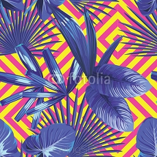 tropical  palm leaves pattern, geometric background 93399745