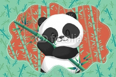 Creative Illustration and Innovative Art: Cute Panda in the Green Bamboo Forest. Realistic Fantastic Cartoon Style Artwork Scene, Wallpaper, Story Background, Card Design 101455403