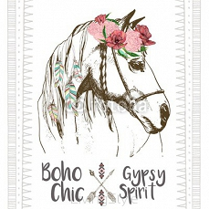 Vector fashion boho chick style horse with flower, feather wreath and arrow. Traditional bohemian deoration. Use for poster, party, fashion, events, promotion, shop, store, design. 113529243