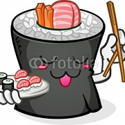 Sushi Cartoon Character with Chop Sticks 63042956