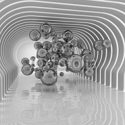 Abstract spheres in futuristic room 31963181