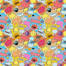 Seamless pattern background with handdrawn comic book speech bubbles, vector illustration 110194109