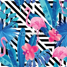 flamingo and orchids pattern, geometric background 85160569
