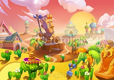 Illustration: The Desert City. At the Entrance, There is a Big Stone Guard. Realistic Cartoon Style Scene / Wallpaper / Background Design. 95147603