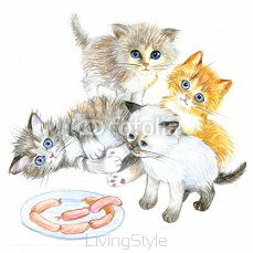 Funny kittens near a plate of sausages. Hand drawn 105782774