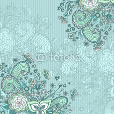 Vintage background with doodle flowers on blue 102965523
