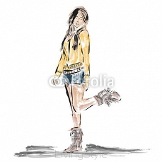 Drawing girl fashion style 95890928