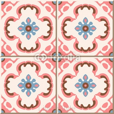 Vintage seamless wall tiles of pink flower kaleidoscope. Moroccan, Portuguese.  99340456