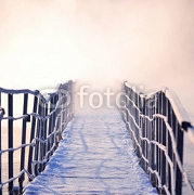 icy bridge with morning fog in winter 118729587