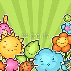 Cute child background with kawaii doodles. Spring collection of cheerful cartoon characters sun, cloud, flower, leaf, beetles and decorative objects 101131224