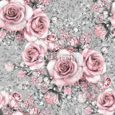 Seamless pattern with pink flowers and leaves on gray background, watercolor floral pattern, flower rose in pastel color, seamless flower pattern for wallpaper, card or fabric 128170820