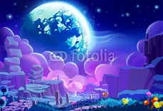 Illustration: The Other planet's Environment. Realistic Cartoon Style. Sci-Fi Scene / Wallpaper / Background Design. 93981803