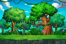 Illustration: The Tree Land. Realistic Cartoon Style Scene / Wallpaper / Background Design.