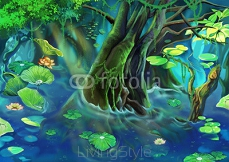 Illustration: The Tree Pond. Realistic Cartoon Style Scene / Wallpaper / Background Design.