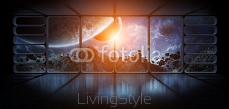 View planets from a huge spaceship window 3D rendering elements 121199618