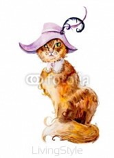 Red cat in a hat. Cat background, watercolor composition. Decoration with kitten in a lacy collar and a violet hat with feathers, brooch.  108036850
